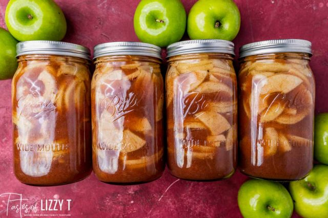 four jars of apple pie filling