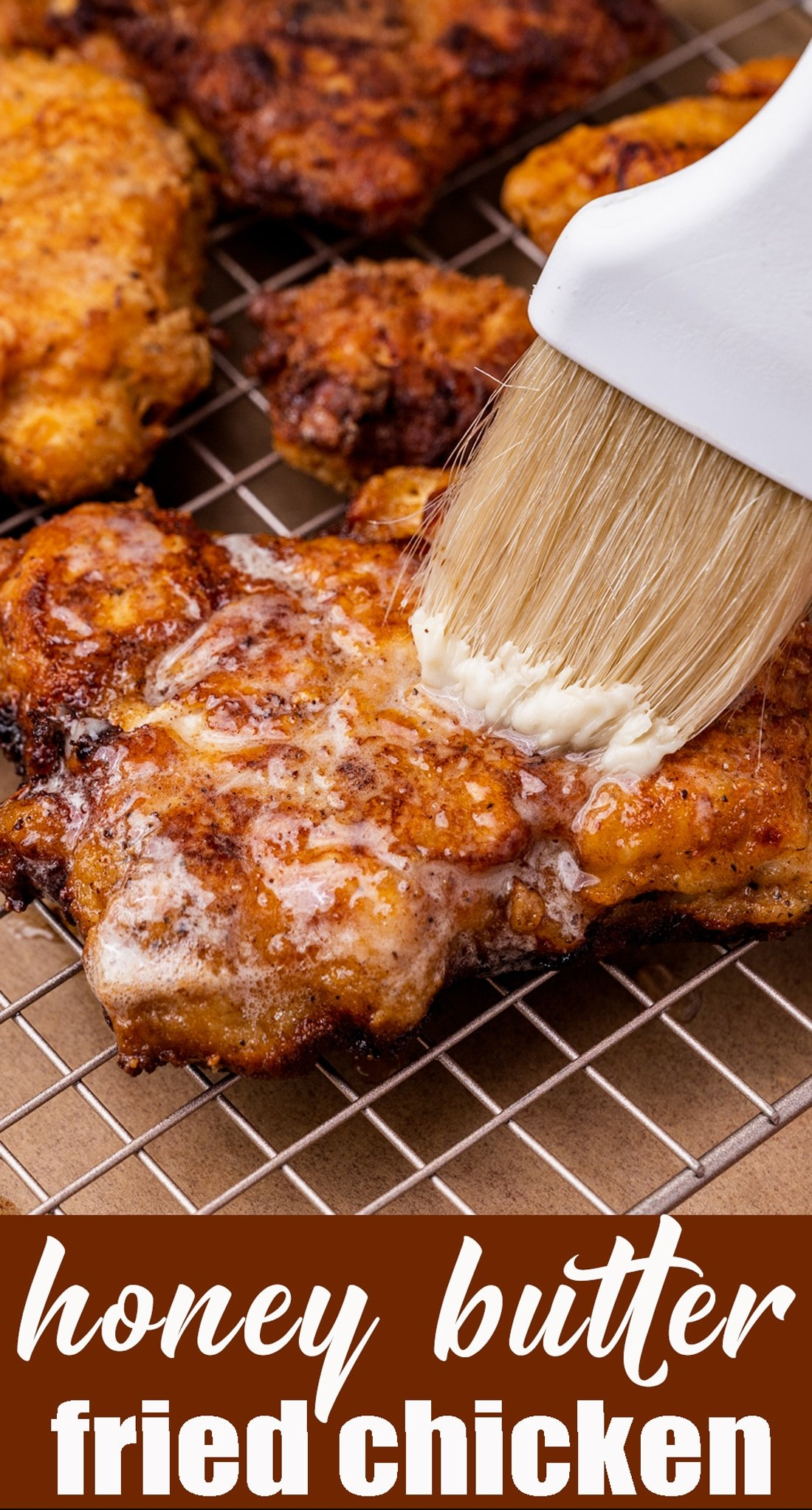Honey Butter Fried Chicken is an easy dinner recipe that your family will love. Lightly sweet and savory, served over mashed potatoes. via @tastesoflizzyt