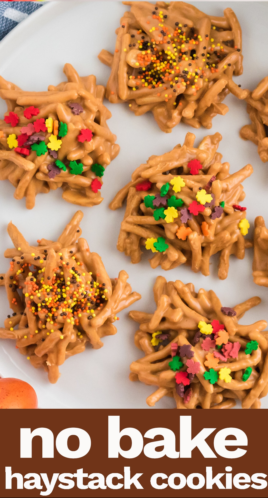 No Bake Haystack Cookies feature peanut butter, butterscotch, chow mein noodles and peanuts. An easy, old fashioned cookie recipe kids can help with. via @tastesoflizzyt