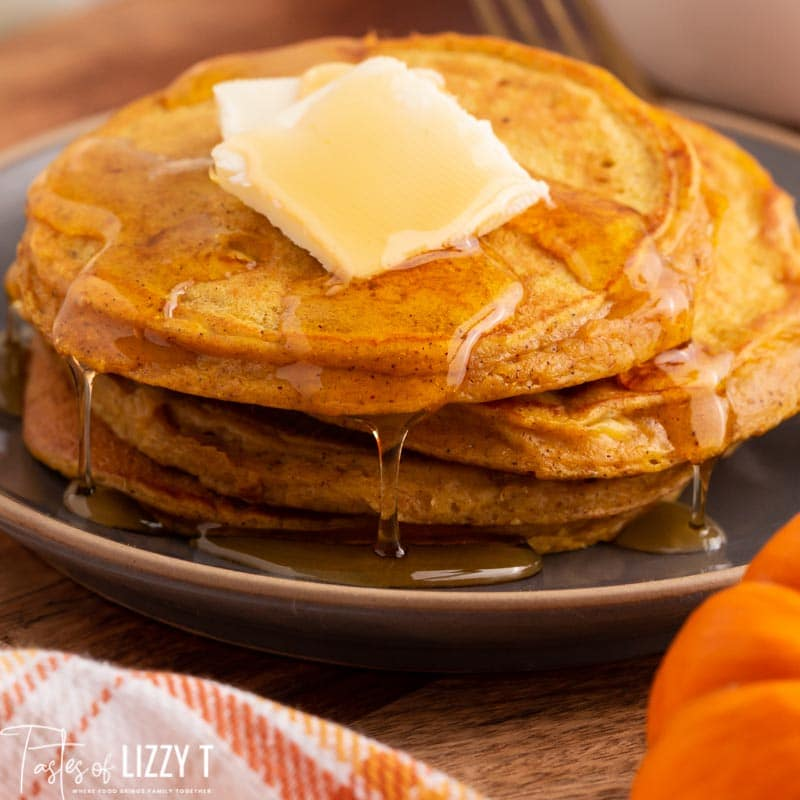 protein pumpkin pancakes with dripping syrup