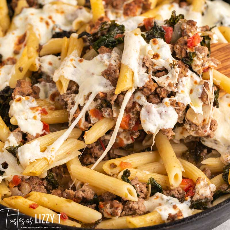 closeup of sausage pasta with cheese