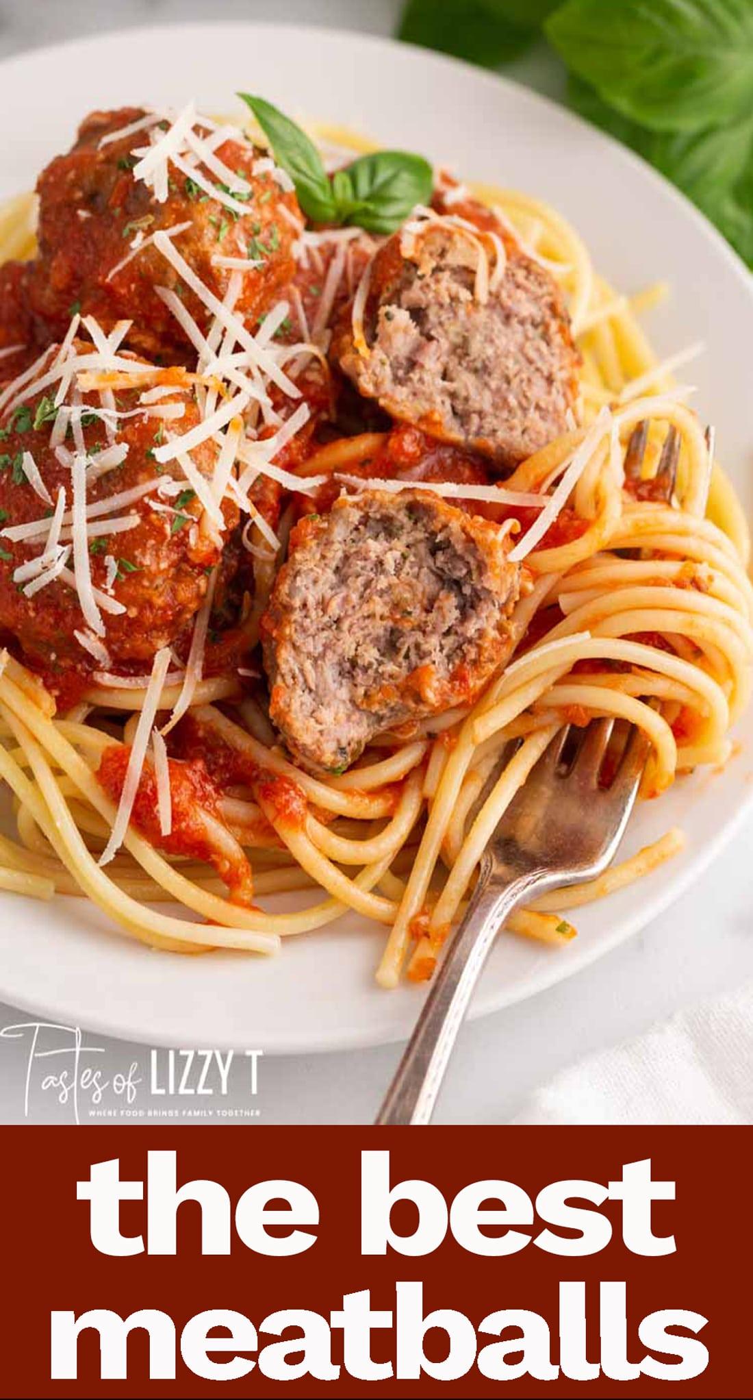 Serve Homemade Italian Meatballs for an easy dinner and leftovers on a bun for lunch. Italian meatballs make a great freezer meal. #meatballs #beef #italian #easydinner via @tastesoflizzyt