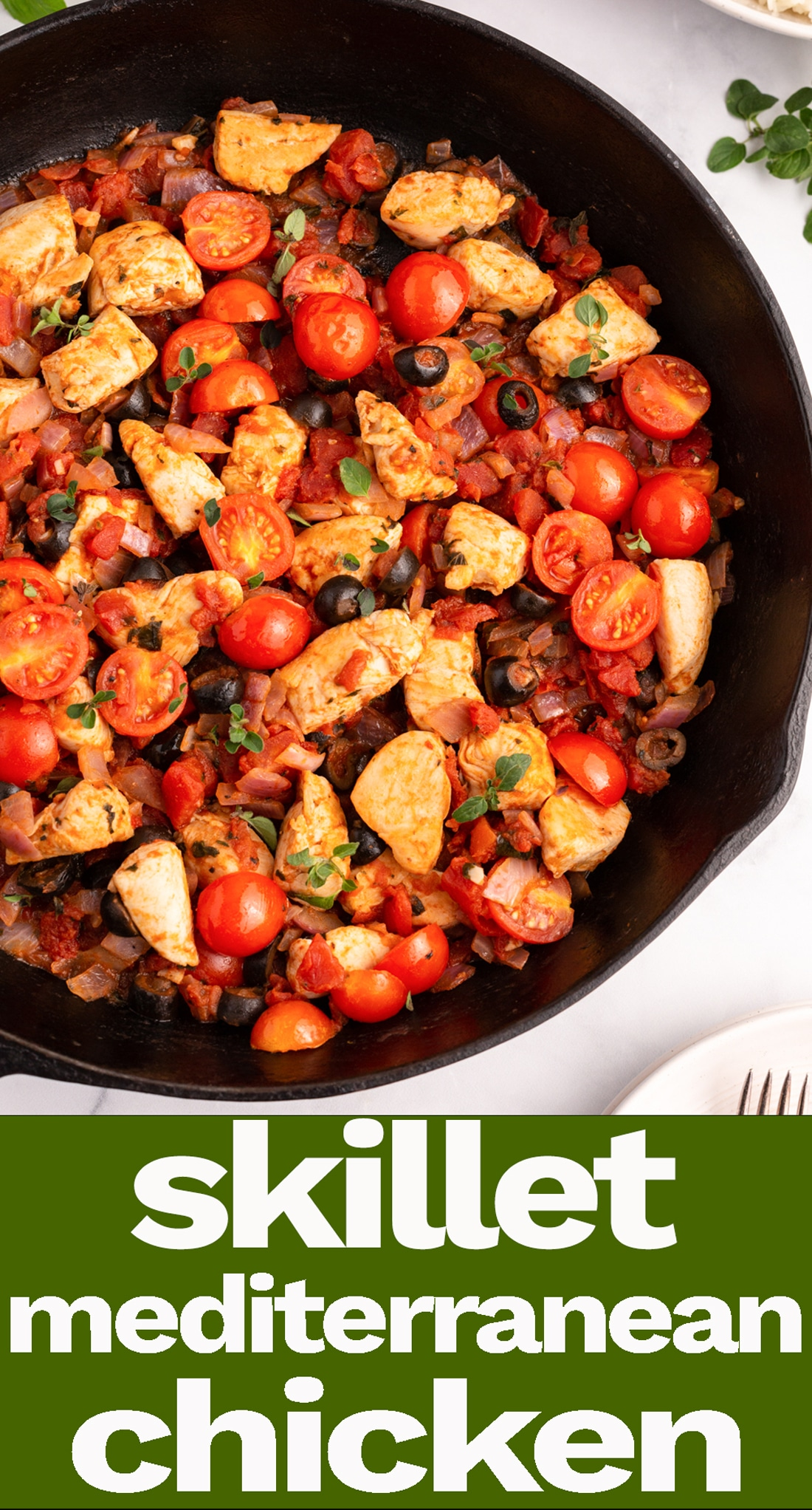 One Skillet Mediterranean Chicken is a healthy dinner packed with veggies and protein and fresh herbs that will be on the table in under 30 minutes.  via @tastesoflizzyt