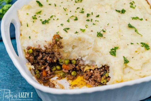shepherd's pie casserole in a baking dish