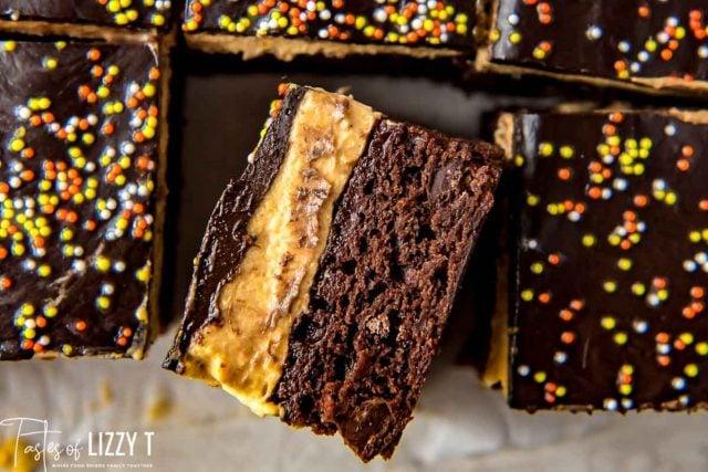 three layer brownies with halloween sprinkles