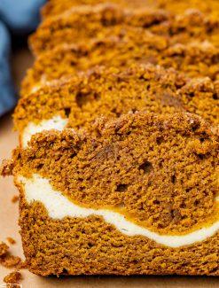 closeup of sliced pumpkin bread on a table