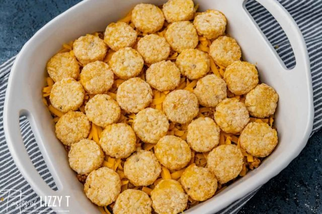 unbaked casserole in a baking dish
