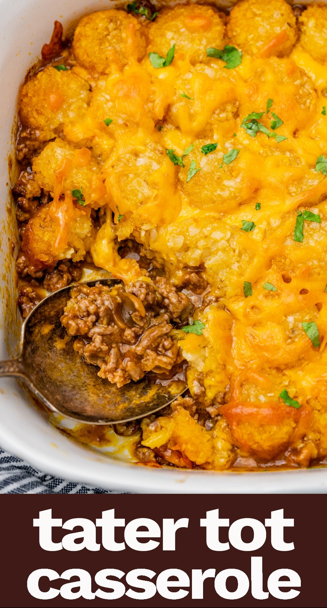 Use ground beef and golden mushroom soup in this tater tot casserole recipe. This classic recipe is a family favorite at potlucks and gatherings. via @tastesoflizzyt